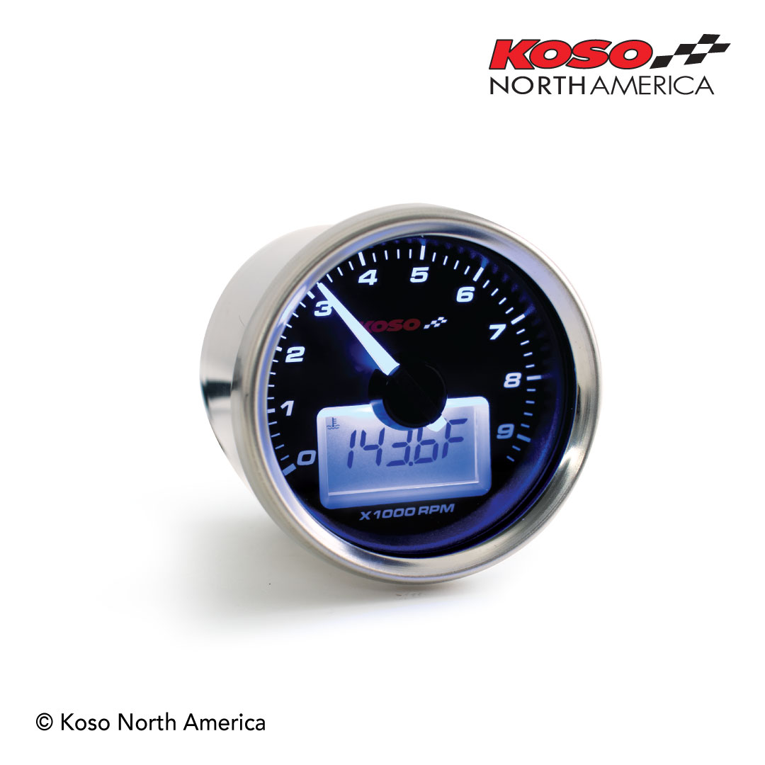 GP Style tachometer with temp - black